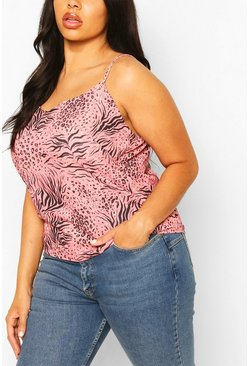 Rose pink Plus Animal Print Woven Cami