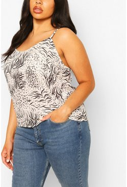 Stone Plus Animal Print Woven Cami