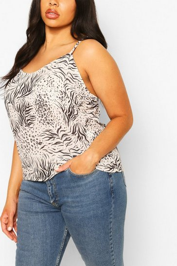 Stone beige Plus Animal Print Woven Cami