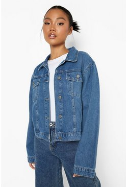 Mid blue blue Petite Puff Sleeve Denim Jacket