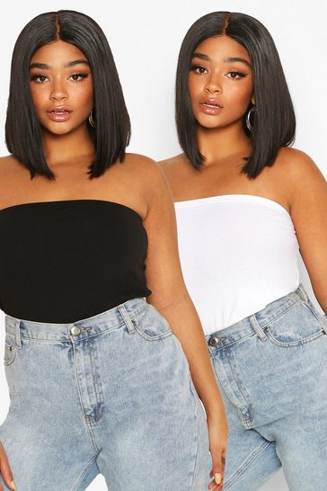 Blackwhite black Plus Basic Bandeau Tube Top 2 Pack