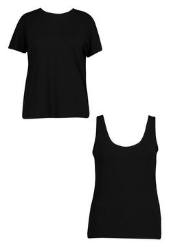 Black Plus Basic Scoop Neck Vest and T-Shirt 2 Pack