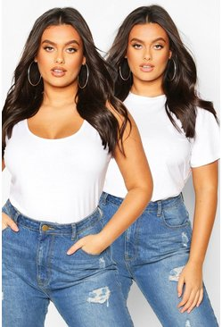 White Plus Basic Scoop Neck Tank Top And T-Shirt 2 Pack