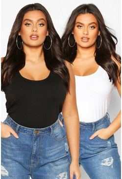 Blackwhite black Plus Basic Scoop Neck Vest Top 2 pack