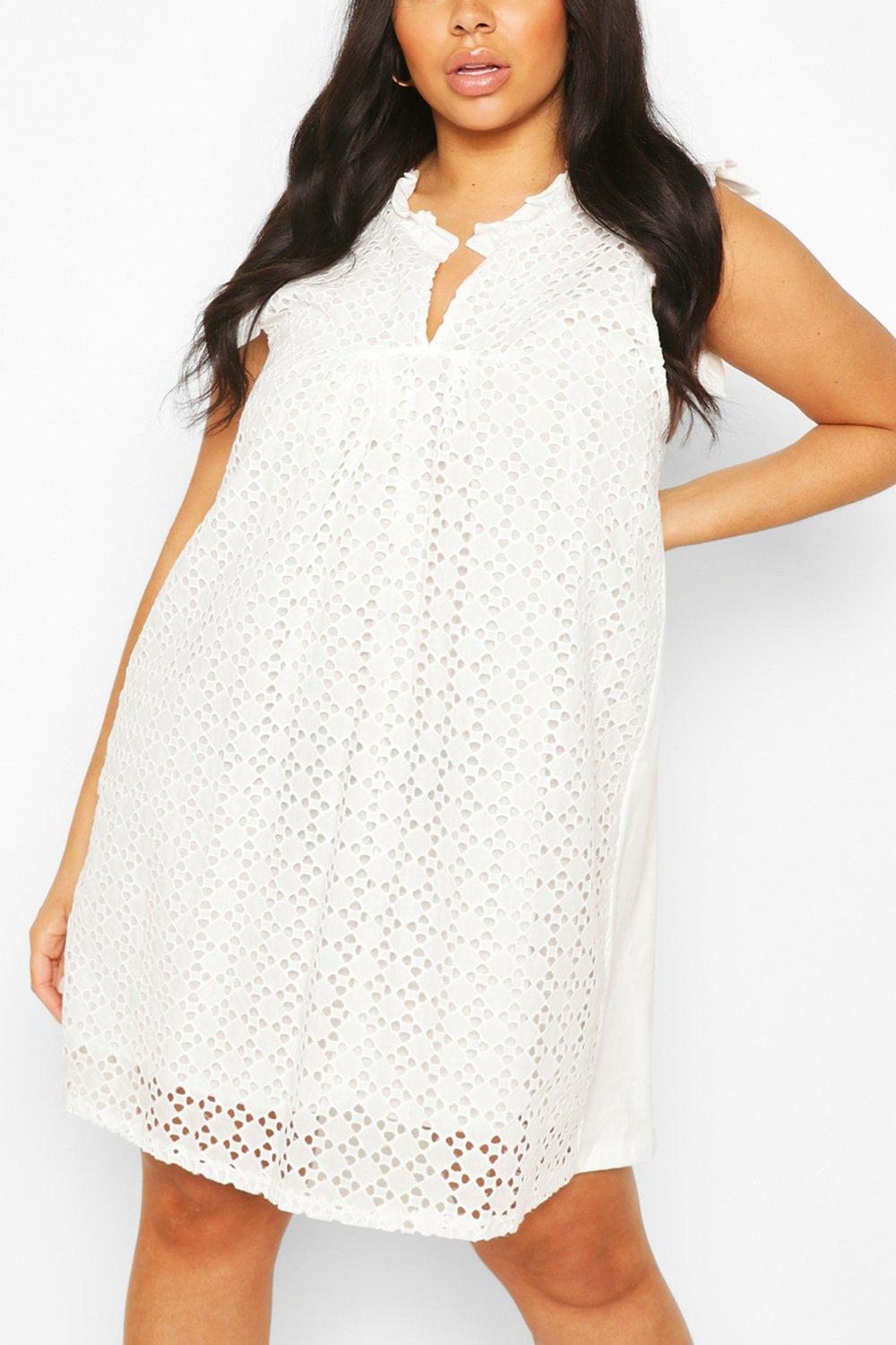 Plus Broderie Anglaise Shift Dress 8