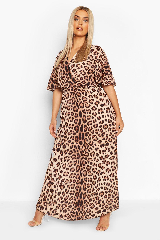Plus Leopard Print Wrap Angel Sleeve Maxi Dress 6