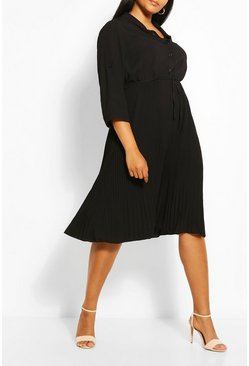 Black Plus Pleated Tie Detail Midi Shirt Dress