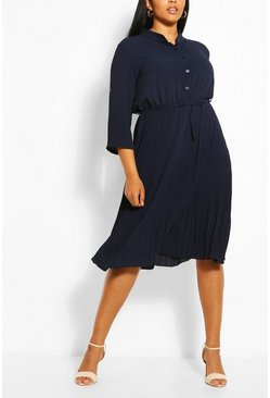 Navy Plus Pleated Tie Detail Midi Shirt Dress