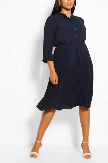 Navy Plus Pleated Tie Detail Midi Shirt Dress
