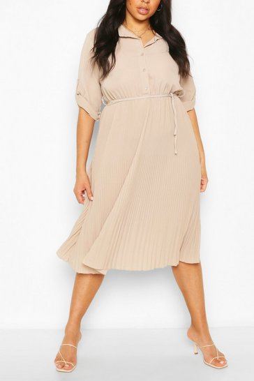 Stone beige Plus Pleated Tie Detail Midi Shirt Dress
