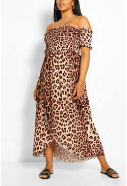 Brown Plus Leopard Print Off Shoulder Maxi Dress
