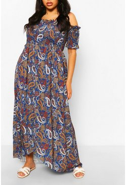 Cobalt blue Plus Paisley Print Off Shoulder Maxi Dress