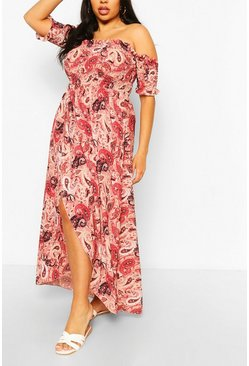 Rose pink Plus Paisley Print Off Shoulder Maxi Dress