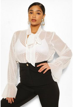 White Plus Dobby Mesh Pussybow Blouse