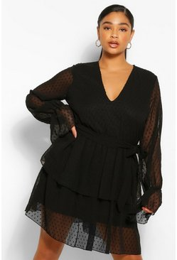 Black Plus Dobby Mesh Tiered Belted Skater Dress
