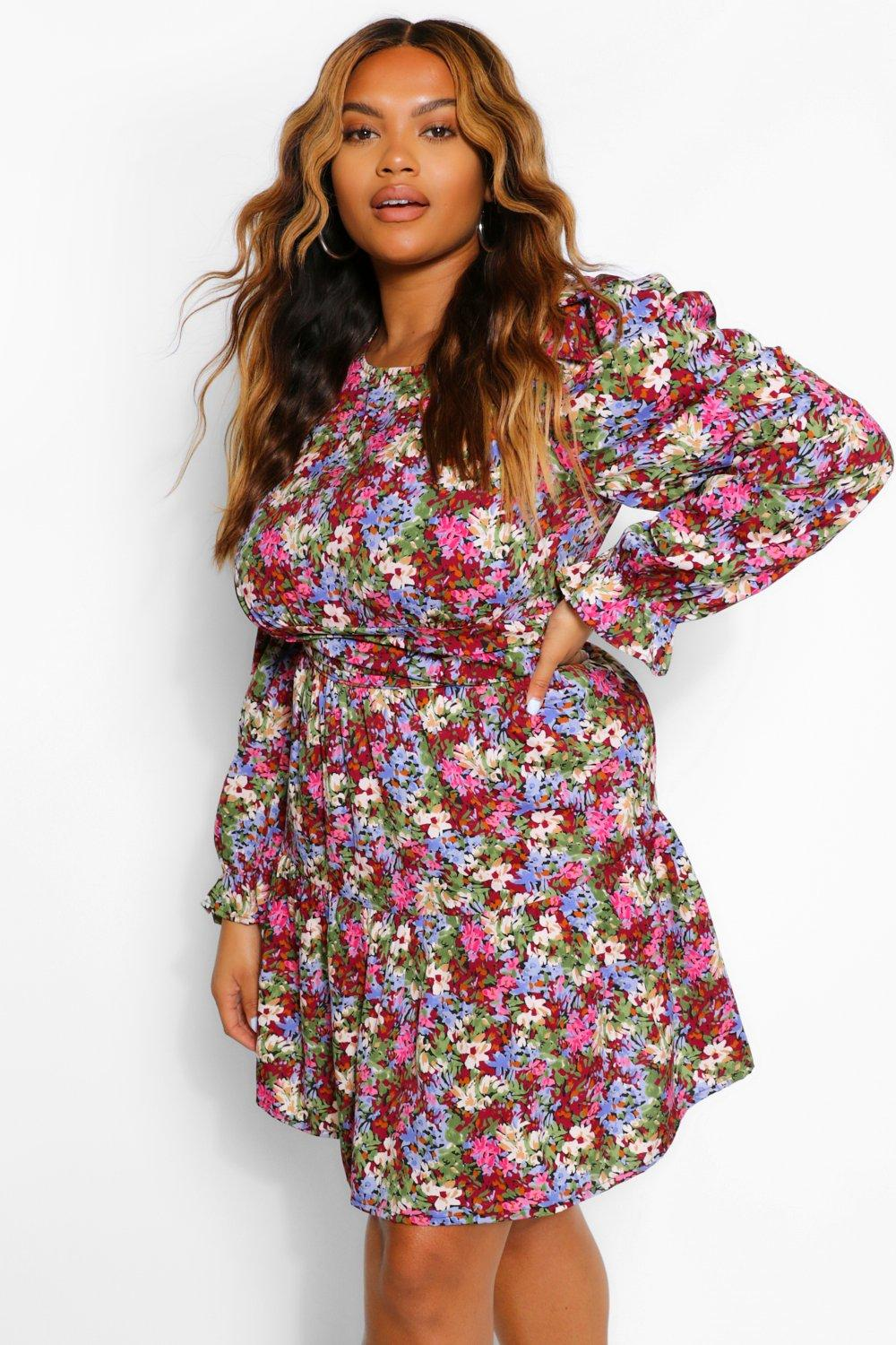 Plus Woven Puff Sleeve Floral Skater Dress 8