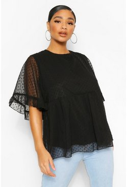 Black Plus Dobby Mesh Angel Sleeve Smock Top