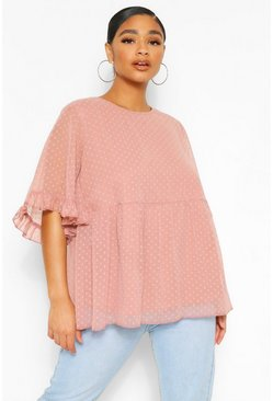 Blush Plus Dobby Mesh Angel Sleeve Smock Top