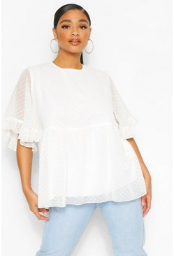 White Plus Dobby Mesh Angel Sleeve Smock Top