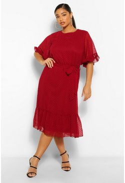 Berry red Plus Dobby Mesh Angel Sleeve Midi Dress