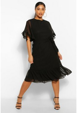Black Plus Dobby Mesh Angel Sleeve Midi Dress