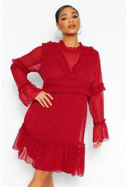 Berry red Plus Dobby Mesh Ruffle Detail Skater Dress