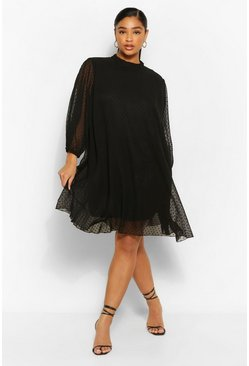 Black Plus Dobby Mesh Puff Sleeve Smock Dress