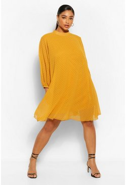 Mustard yellow Plus Dobby Mesh Puff Sleeve Smock Dress