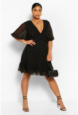Black Plus Dobby Mesh Ruffle Angel Sleeve Skater Dress