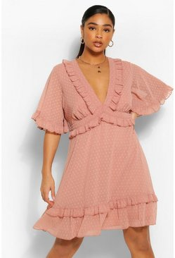 Blush pink Plus Dobby Mesh Ruffle Angel Sleeve Skater Dress