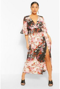 Black Plus Woven Floral Ruffle Midaxi Dress