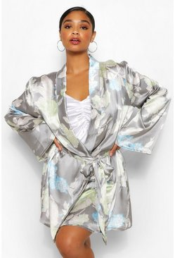 Grey Plus Satin Floral Robe