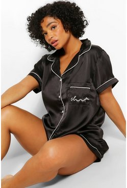 Black Plus Satin Shorts Pj Set
