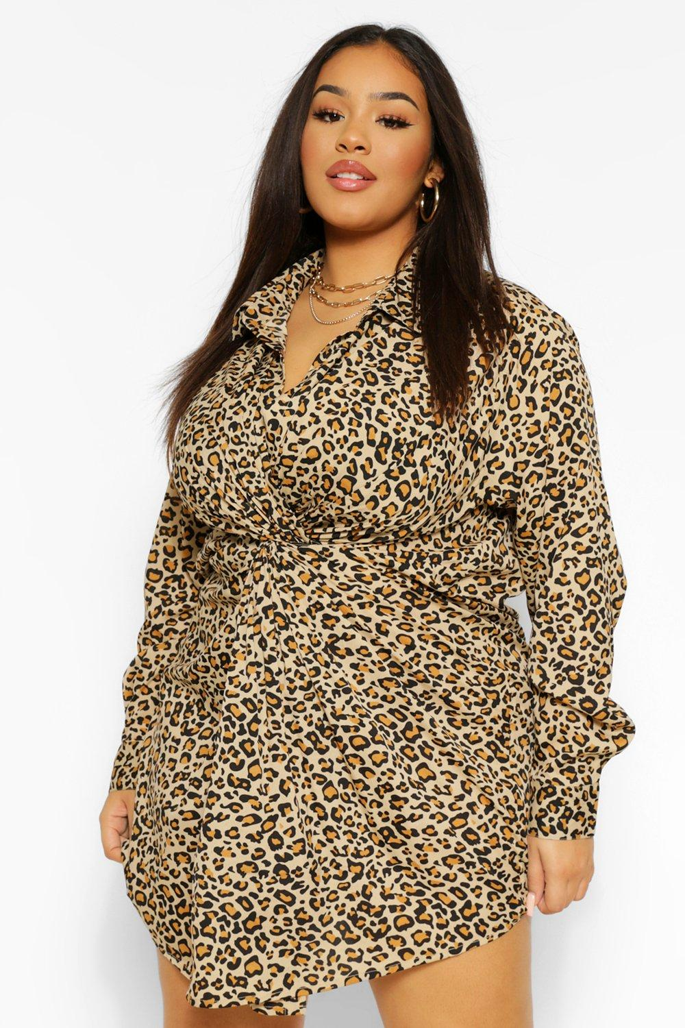 Plus Leopard Knot Shirt Dress 14