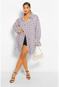 White Plus Leopard Frill Sleeve Shirt