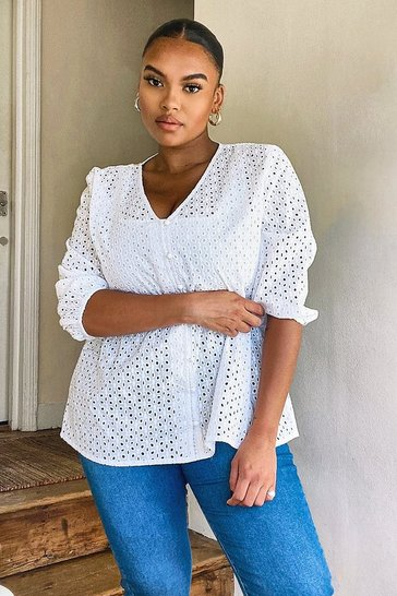 White Plus Broderie Puff Sleeve Smock Top