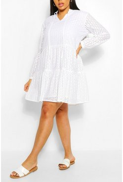 White Plus Broderie Tiered Smock Dress