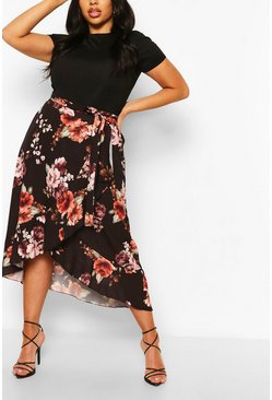 Black Plus Floral Wrap Ruffle Midi Skirt