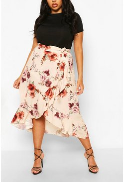Ivory white Plus Floral Wrap Ruffle Midi Skirt
