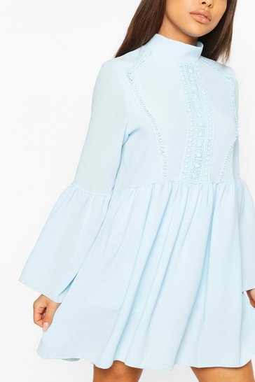 Blue Petite Crochet Detail Smock Dress
