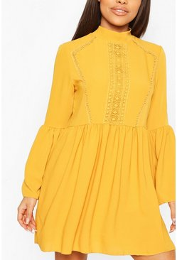 Mustard yellow Petite Crochet Detail Smock Dress
