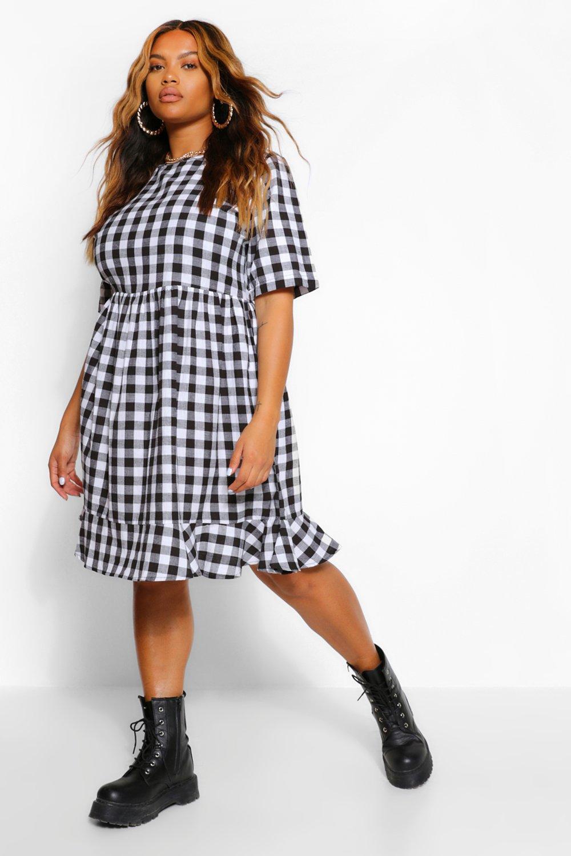 Plus Woven Gingham Ruffle Smock Dress 6