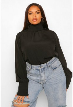 Black Plus Woven Shirred High Neck Smock Top