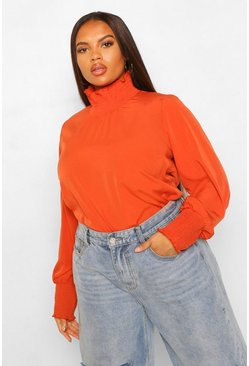 Rust Plus Woven Shirred High Neck Smock Top