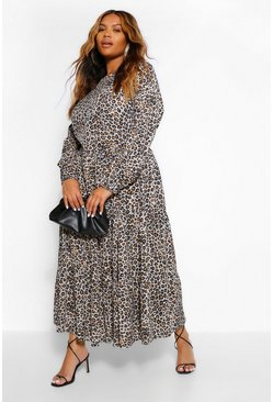 Leopard multi Plus Woven Extreme Tiered Midaxi Dress