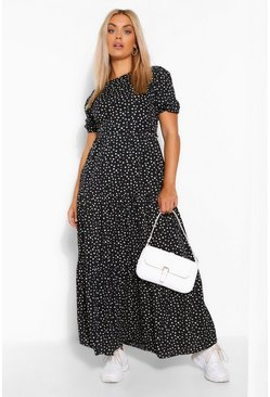 Black Plus Woven Smudge Print Tiered Midaxi Dress