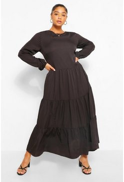 Black Plus Woven Extreme Tiered Midaxi Dress