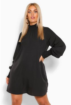 Black Plus Shirred Neck & Sleeve Smock Dress