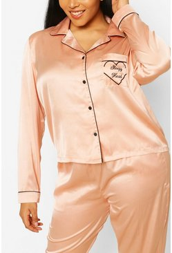 Rose gold metallic Plus 'Sleepyhead' Satin PJ Trouser Set