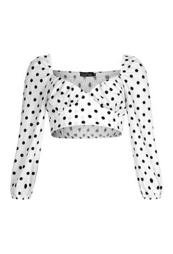 White Petite Polka Dot Crop Top